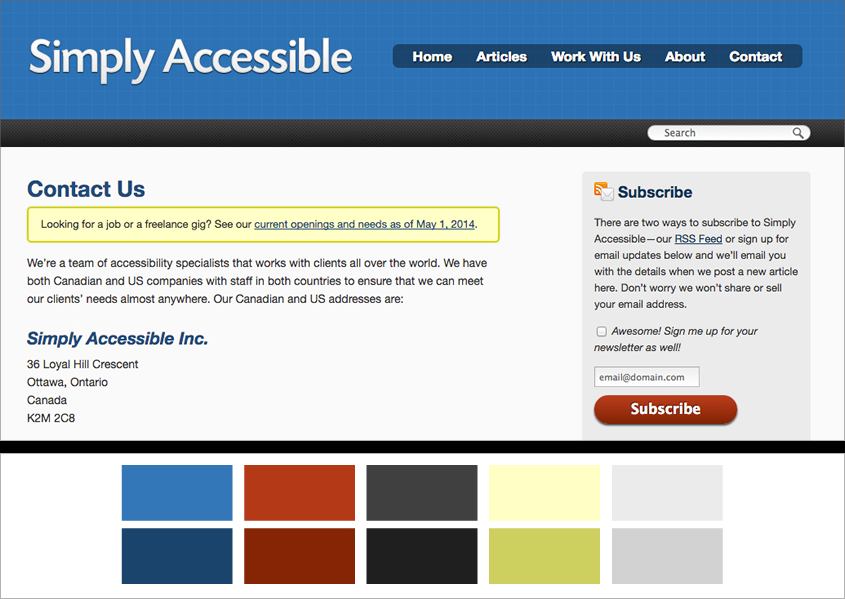 The old Simply Accessible website and colour palette.