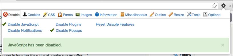 Web developer tools extension