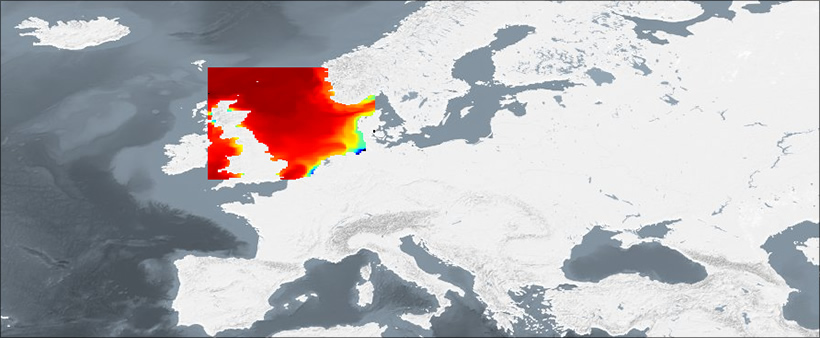 A map from the Marine Operation Ecology data portal, showing data of adult cod in the North Sea.