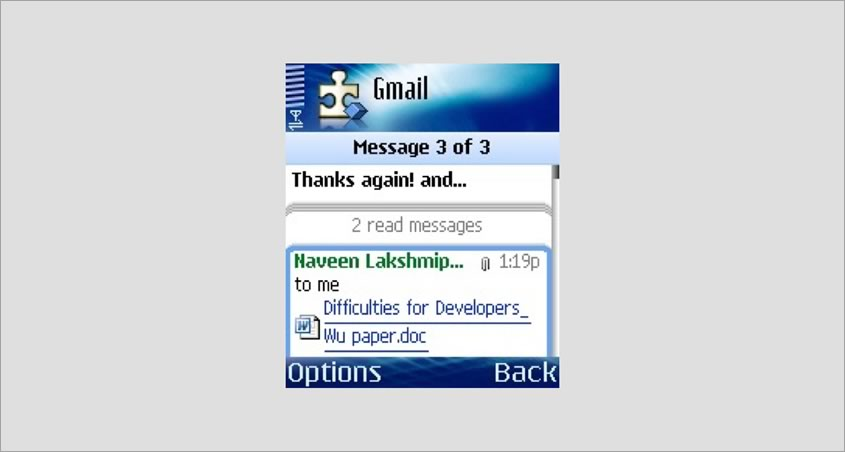 Screenshot of an email app on a Nokia 6680.