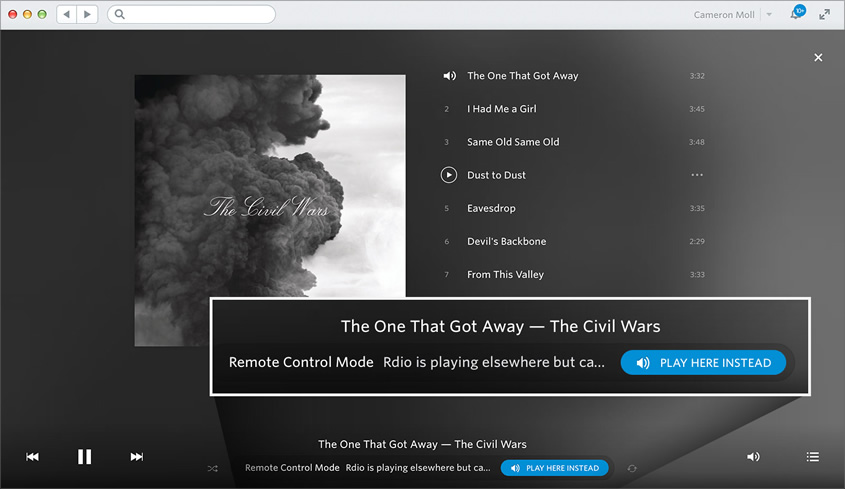 Screenshot of the Rdio remote control feature on a Macbook.