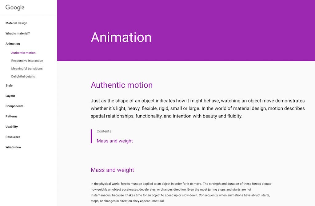 A screenshot from Google's material design library.