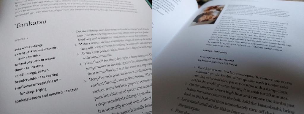 A photo of a recipe for Tonkatsu in a recipe book, alongside a photo of instructions on making stock in the same book.