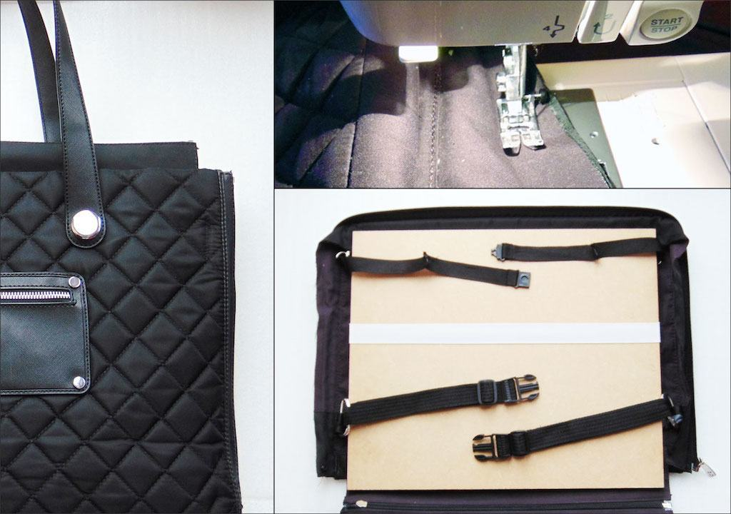 A photo of a laptop bag being modified using a sewing machine and some MDF.