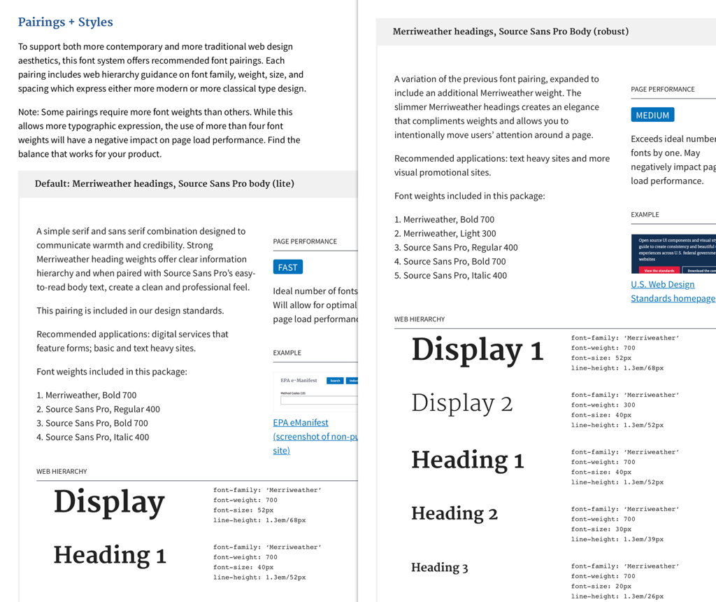 Type pairings in the US Web Design Standards guide