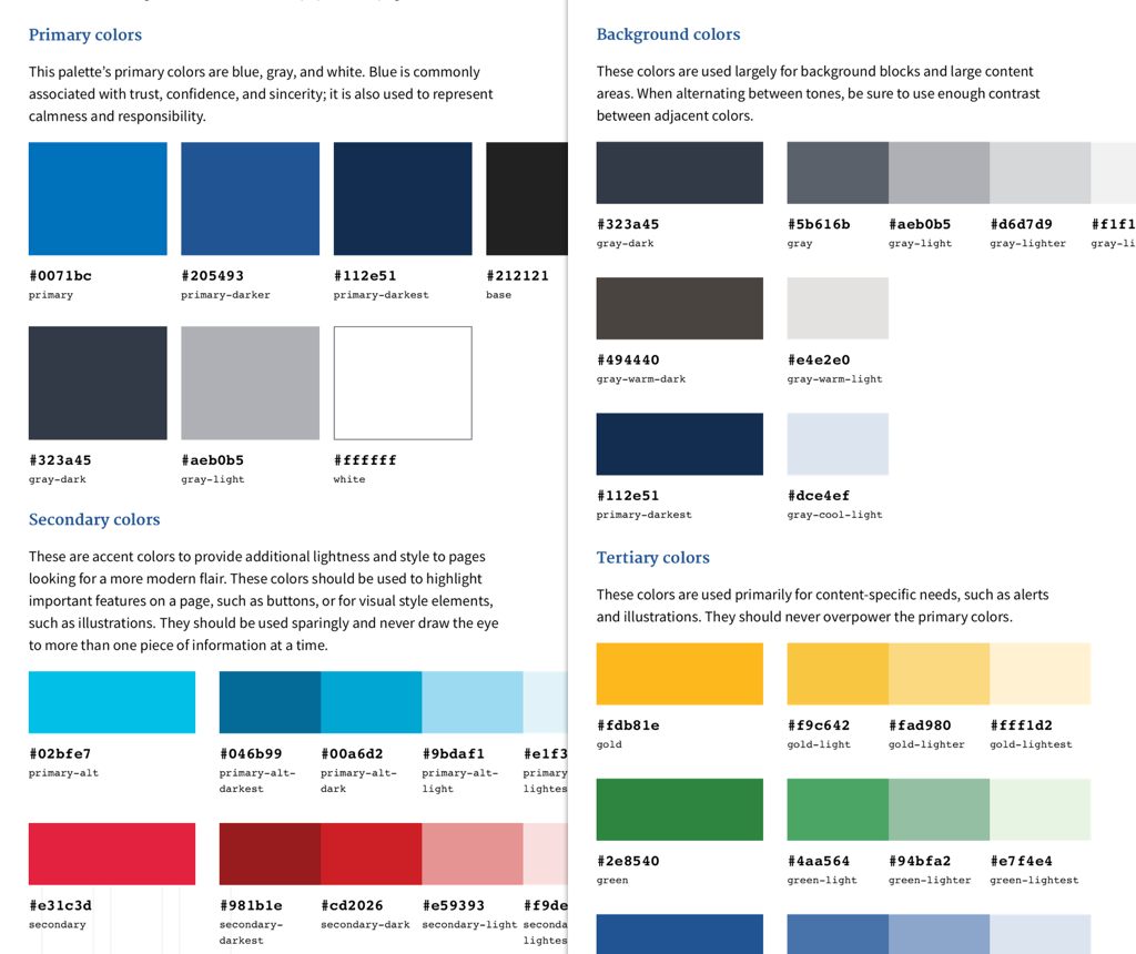 Colour palettes in the US Web Design Standards guide