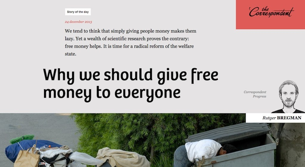 An article titled 'why we should give free money to everyone', which is set in Bree.