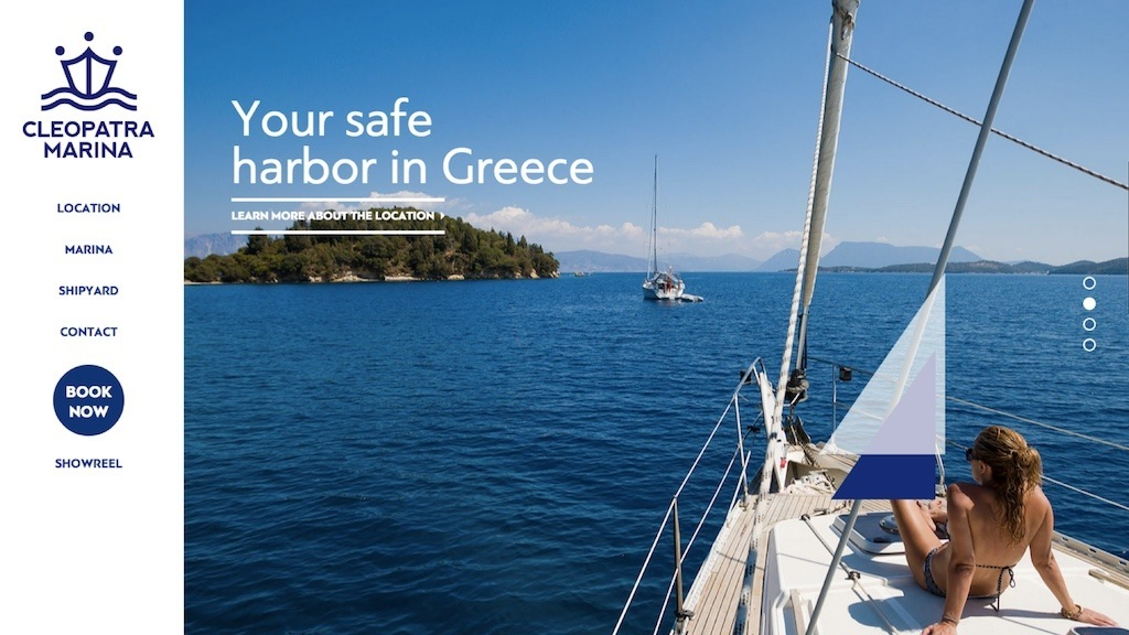 The website for Cleopatra Marina, with the caption 'your safe harbour in greece'.