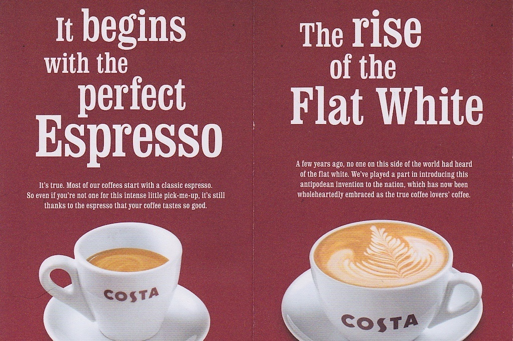 A leaflet from Costa with Clarendon used as large headings.