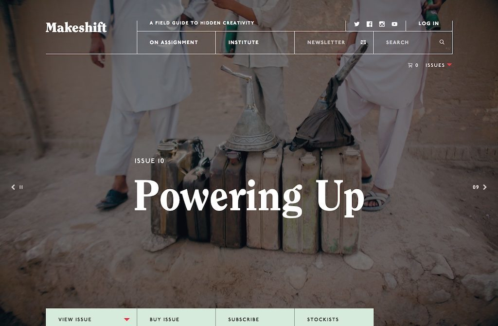 A magazine website with a bold article title saying 'Powering up'.