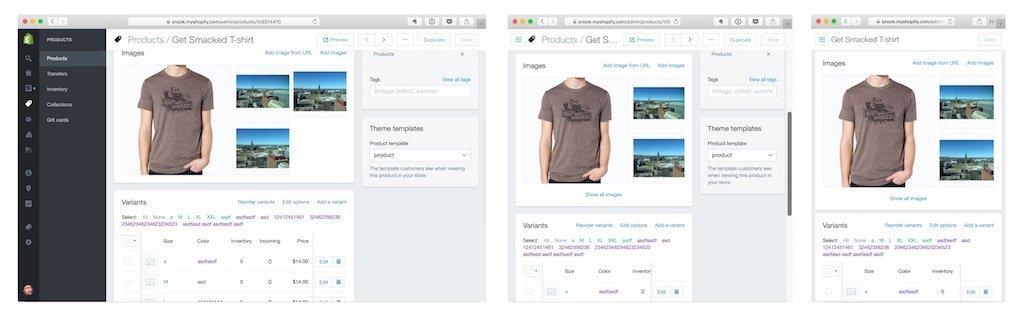 Screenshots of Shopify's responsive admin