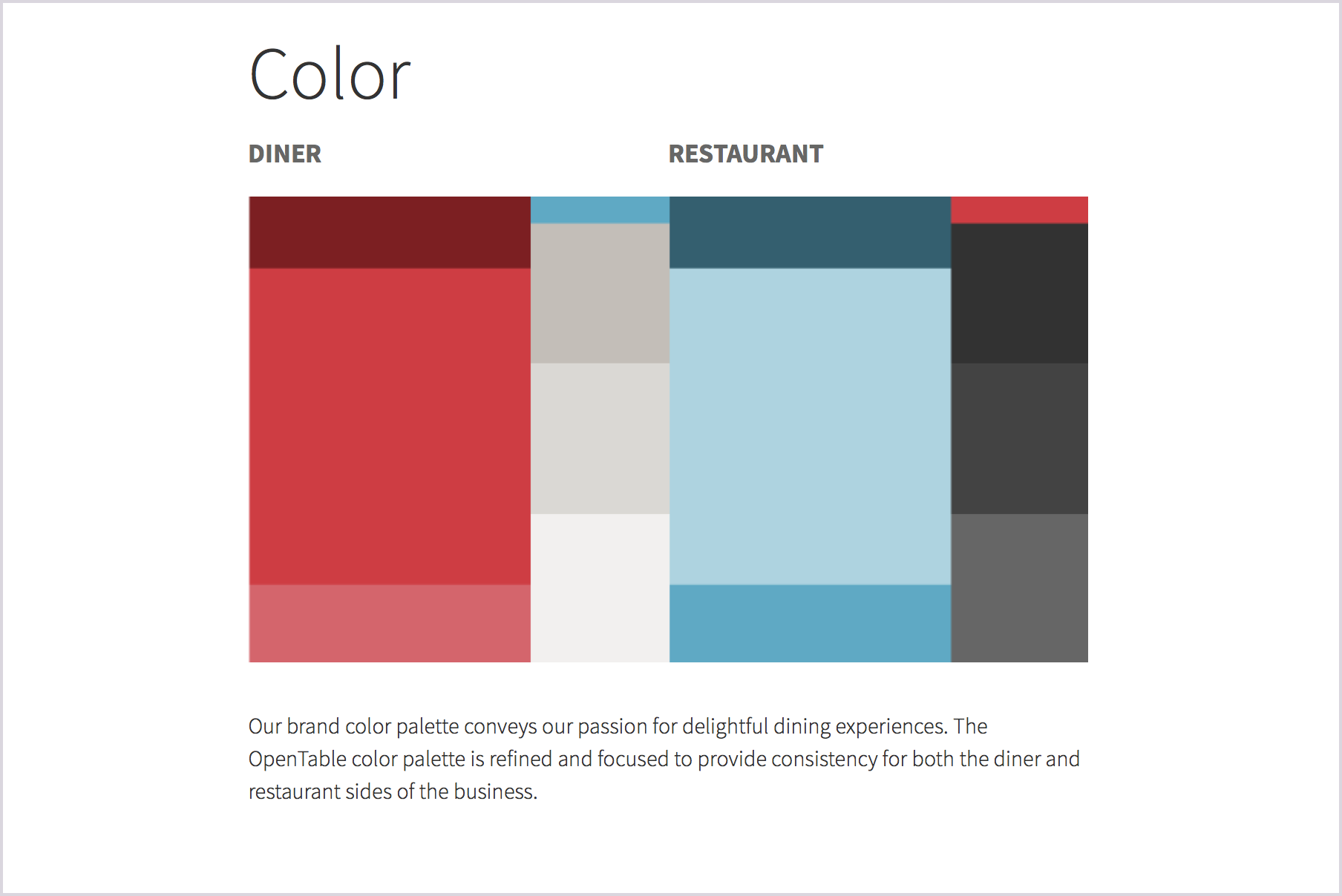 OpenTable style guide