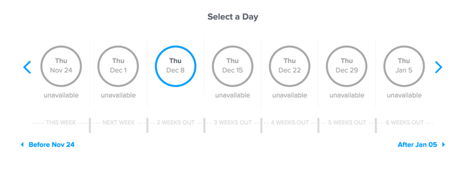 Using Calendly to select an appropriate day