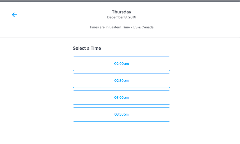Using Calendly to select an appropriate time