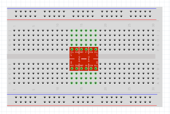 Diagram of a Logic Level Converter in breadboard