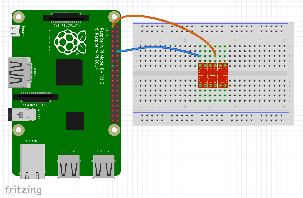 Diagram of the first wires being connected between the Raspberry Pi and breadboard