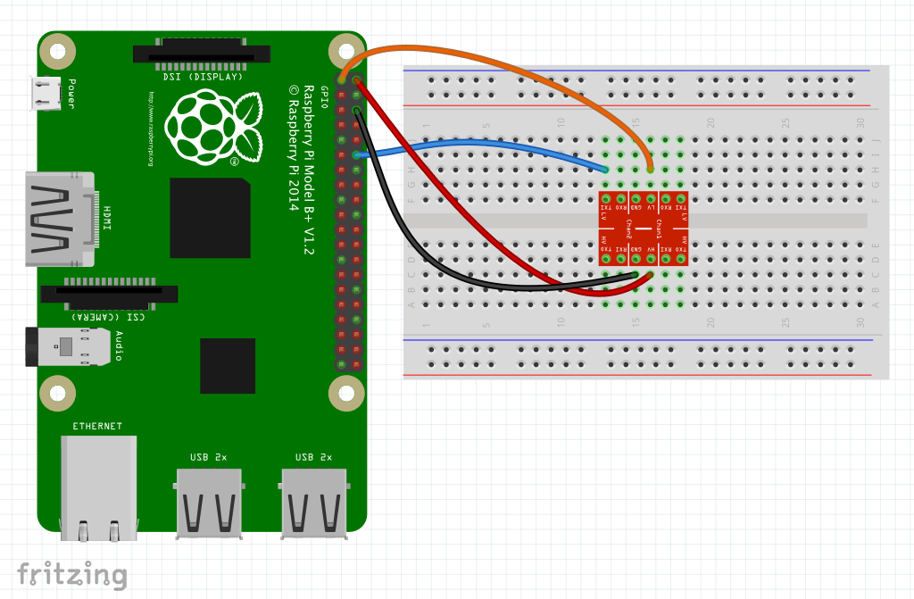 Diagram of connecting the second set of wires between the Raspberry Pi and breadboard