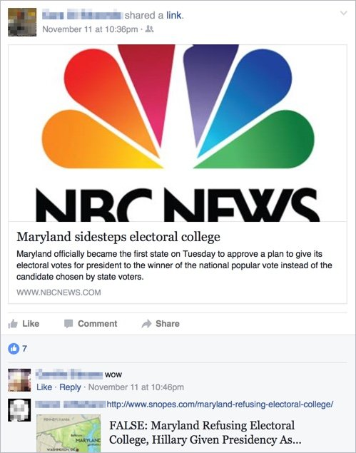 An NBC breaking news card with the headline Maryland sidesteps electoral college.