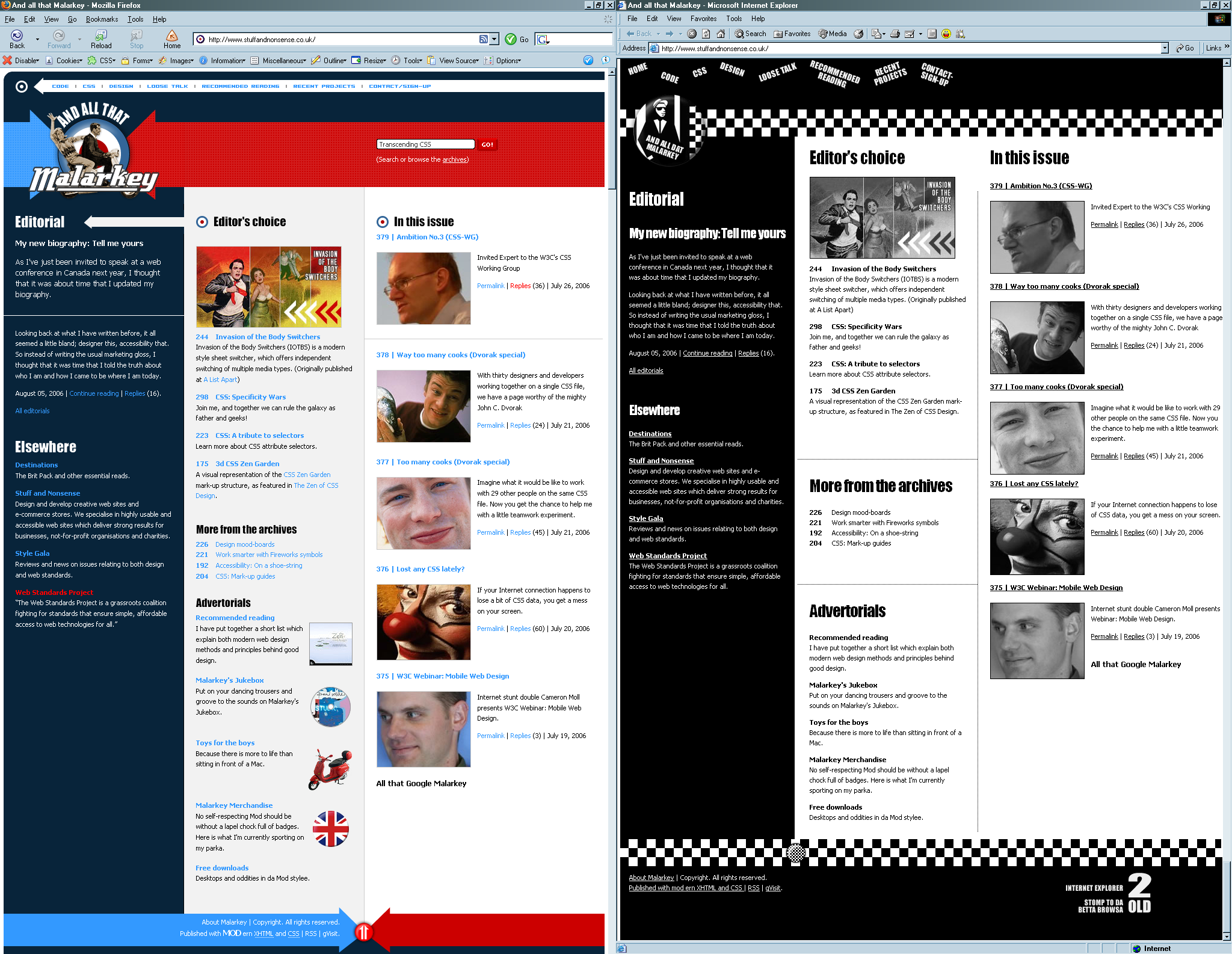 Screen shot of the Stuff & Nonsense website side by side in different browsers, showing the differences in rendering between the two browsers.