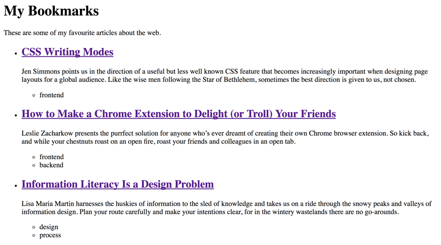 An unstyled HTML page with a list of bookmarks