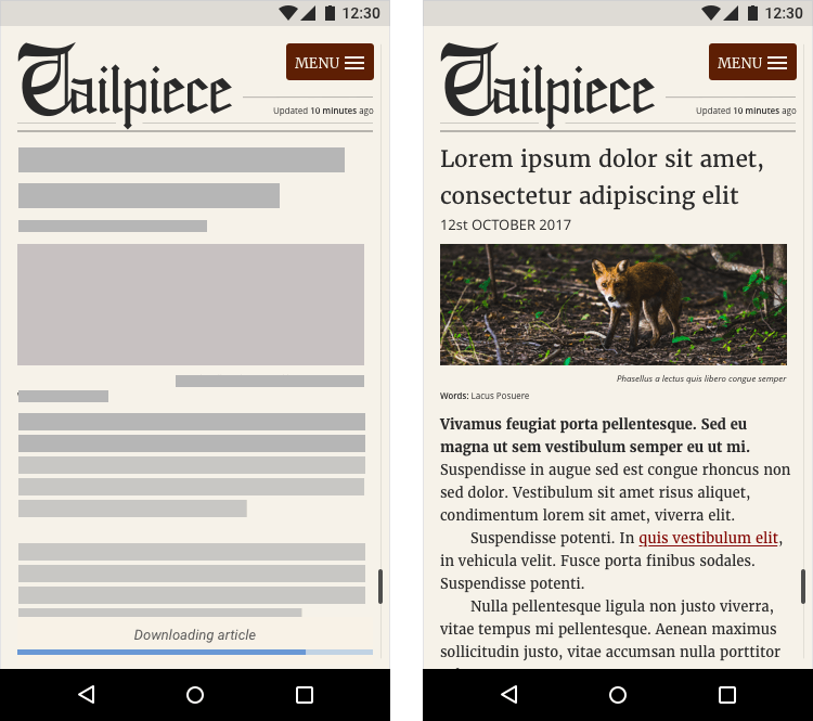 A before and after screenshot of a preloader UI