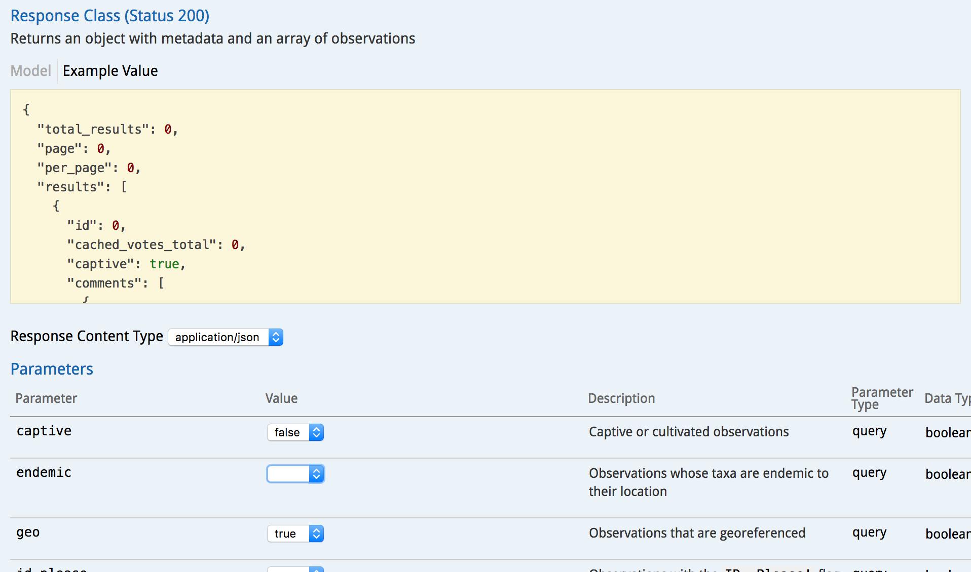 screenshot of iNaturalist API explorer