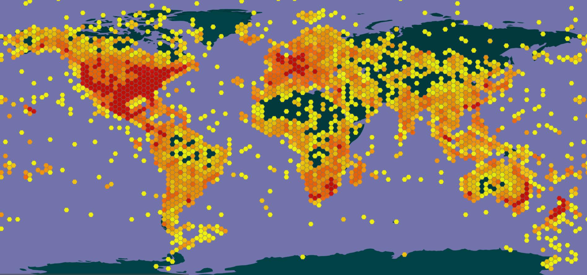 screenshot of GBIF map