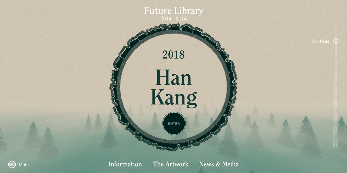 A screenshot from the Future Library site, with an illustration of a tree trunk and the 2018 author Han Kang as the title.