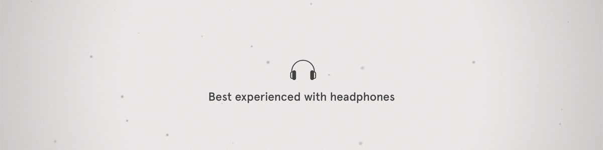 The text 'best experienced with headphones', with a headphone icon.