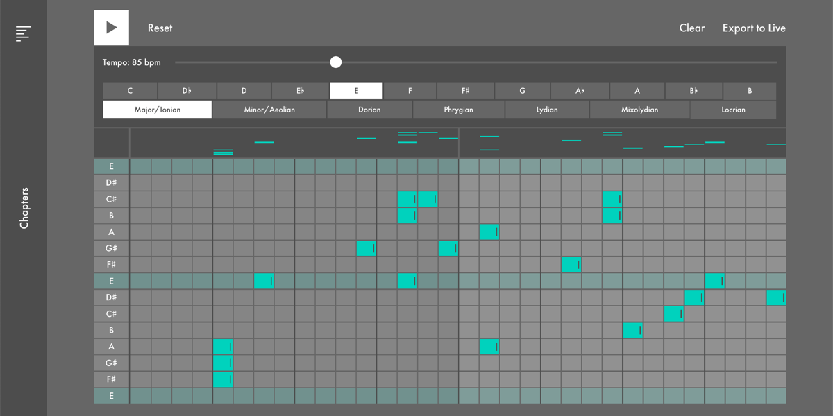 A screenshot from Learning Music, showing a tool that lets you play notes on a scale, and change the tempo that the notes are played at.