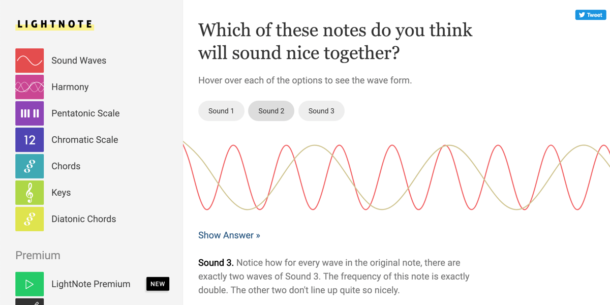 Screenshot from Lightnote. There is an audio wave graph and the heading 'which of these notes do you think will sound nice together?'. There is the option to add more sound waves to the graph.