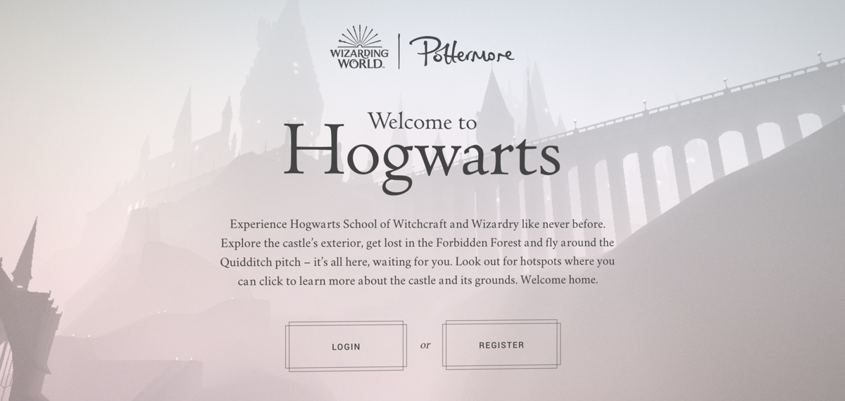 Screenshot of the homepage of the Pottermore website, with the title 'Welcome to Hogwarts'. There is a castle in the background, and big buttons to log in or register.