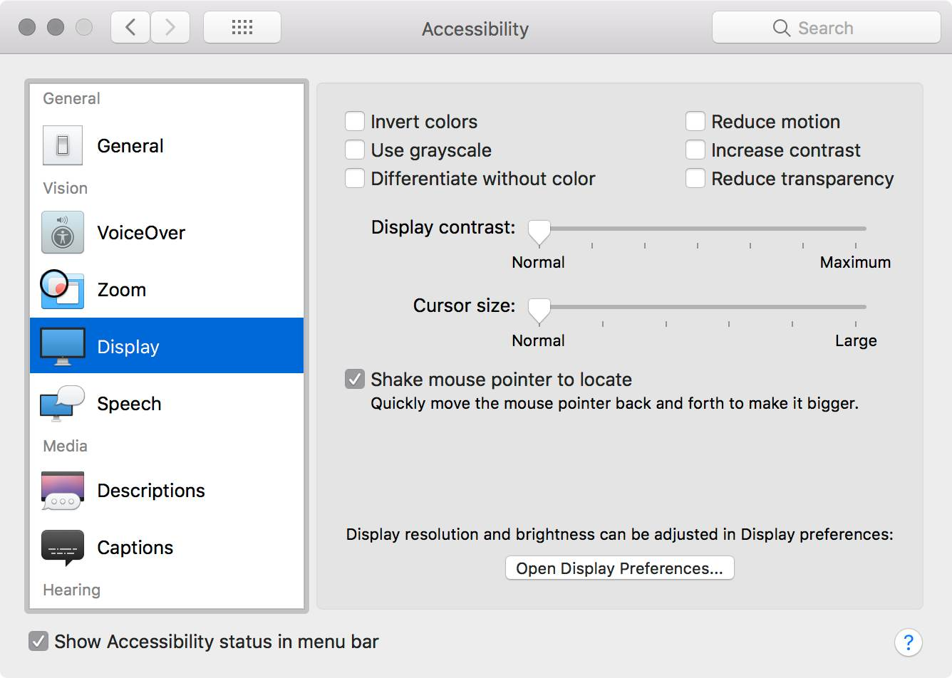 The accessibility display options dialog in the system preferences dialog for macOS High Sierra.
