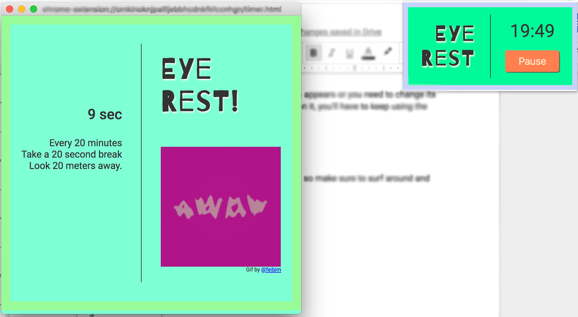 A screenshot of the Eye Rest popout with the timer window.
