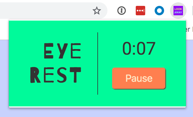 A screenshot of the Eye Rest popup styled bright green and orange.