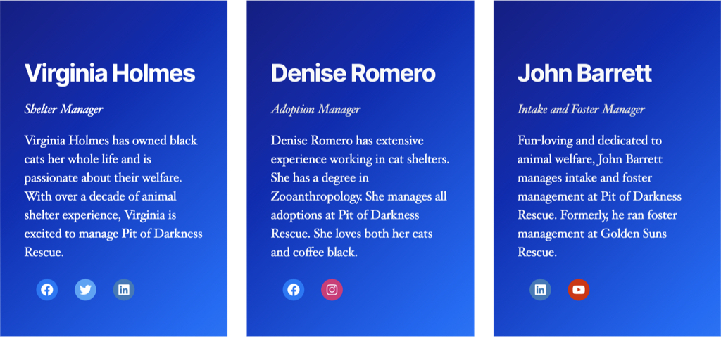 The same content, but there are no images on the background – just a blue gradient.