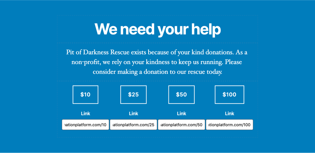 A donate call to action with a bright blue background. There are 4 buttons with different donation amounts.