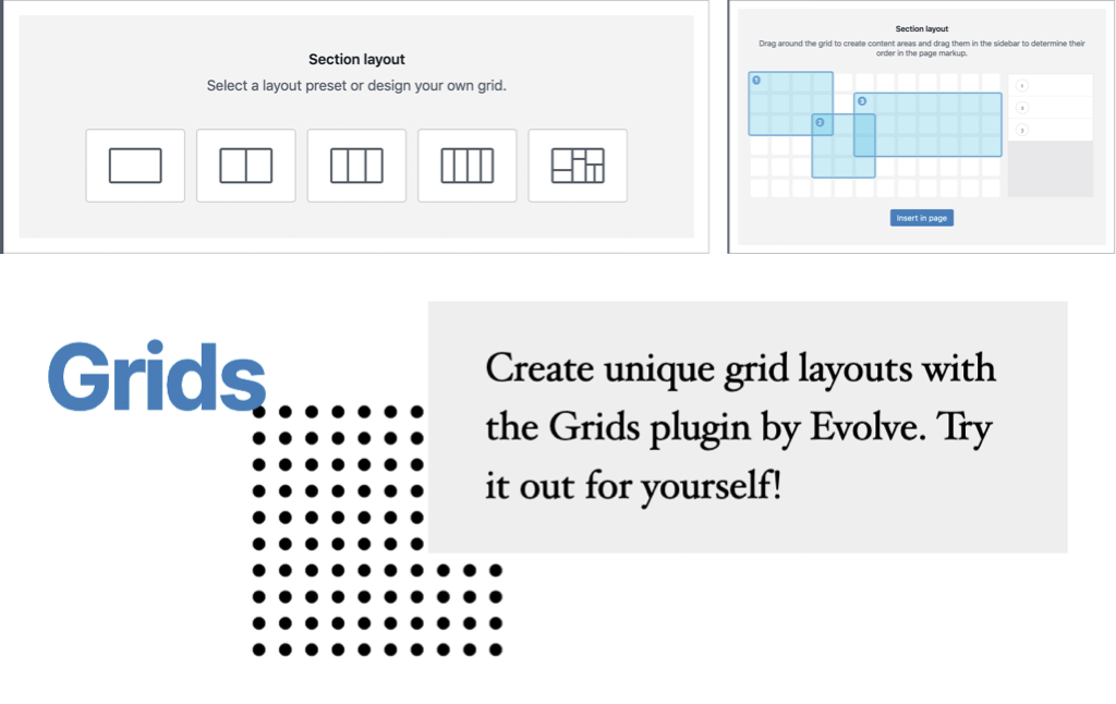 Some illustrations of grids, with the heading 'Create unique grid layouts with the Grids plugin by Evolve. Try it out yourself!'