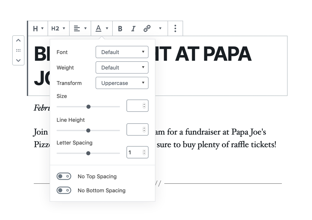 A custom typography block, where the size, letterspacing and font can be customised.