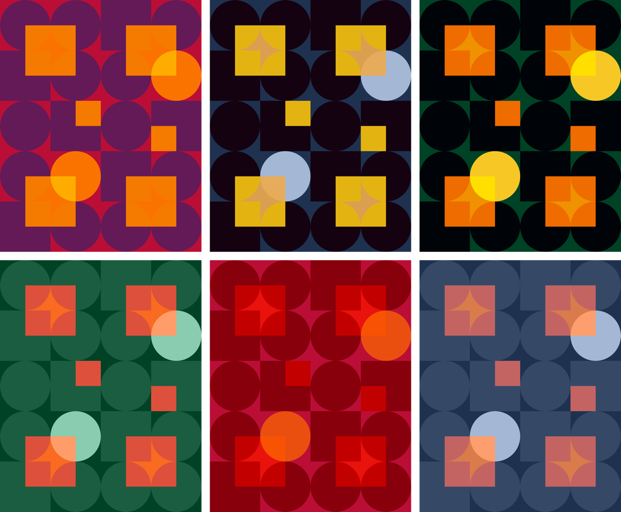 Illustration of six background-blend-mode variations