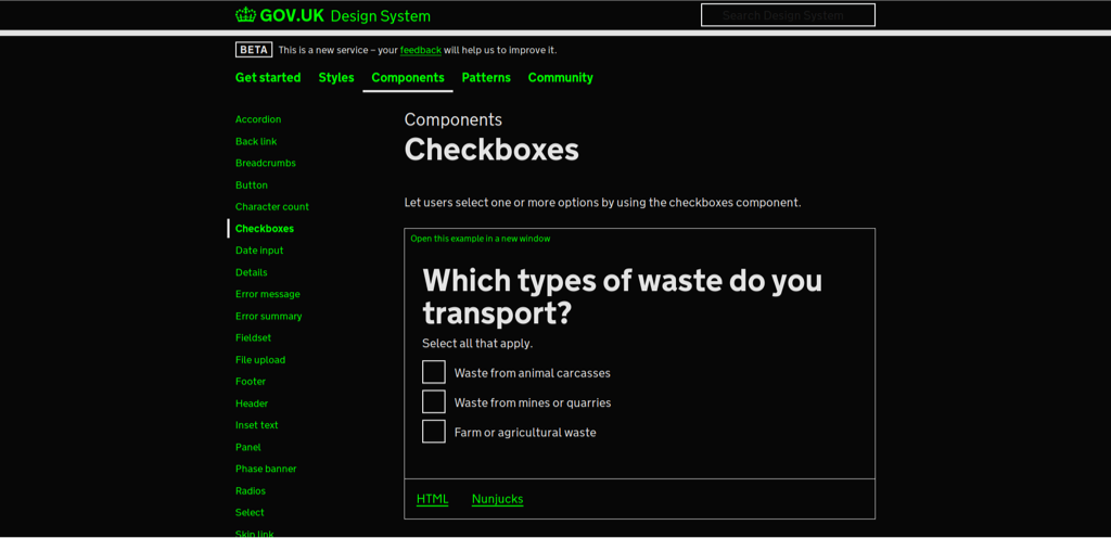 Screenshot of the GOV.UK website with green and white text and black background.