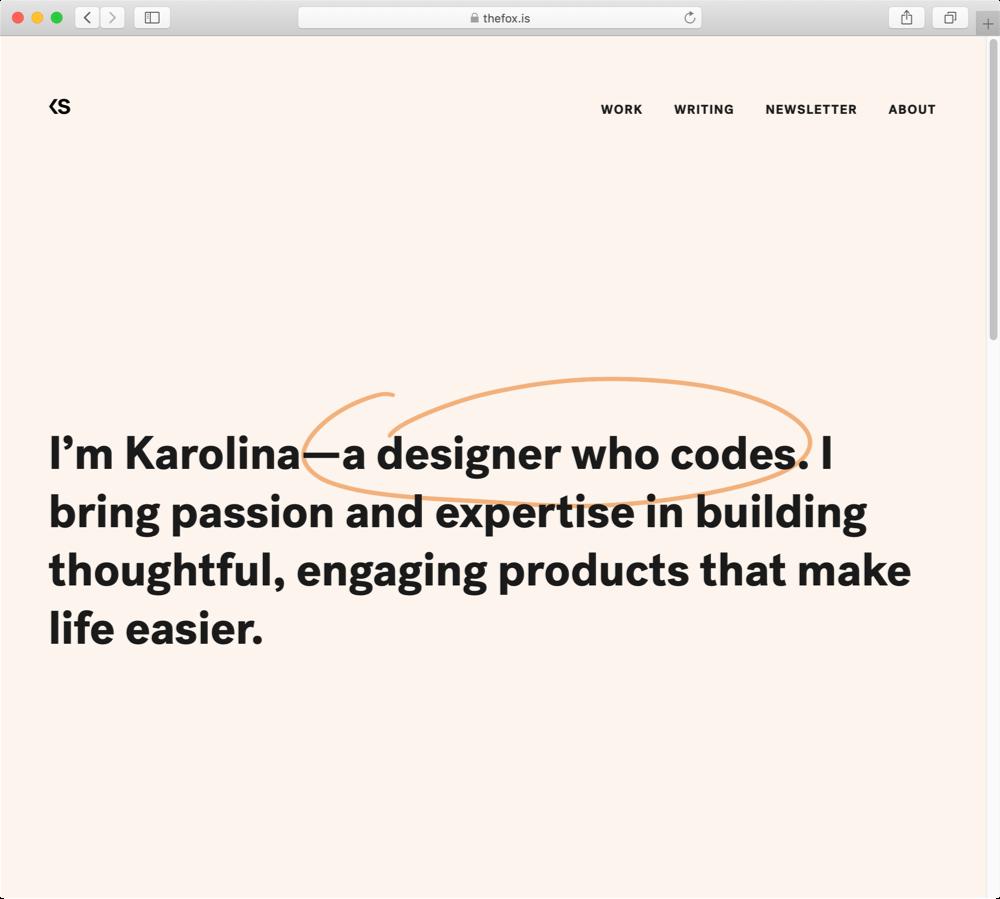 Screenshot of Karolina Szczur's homepage.