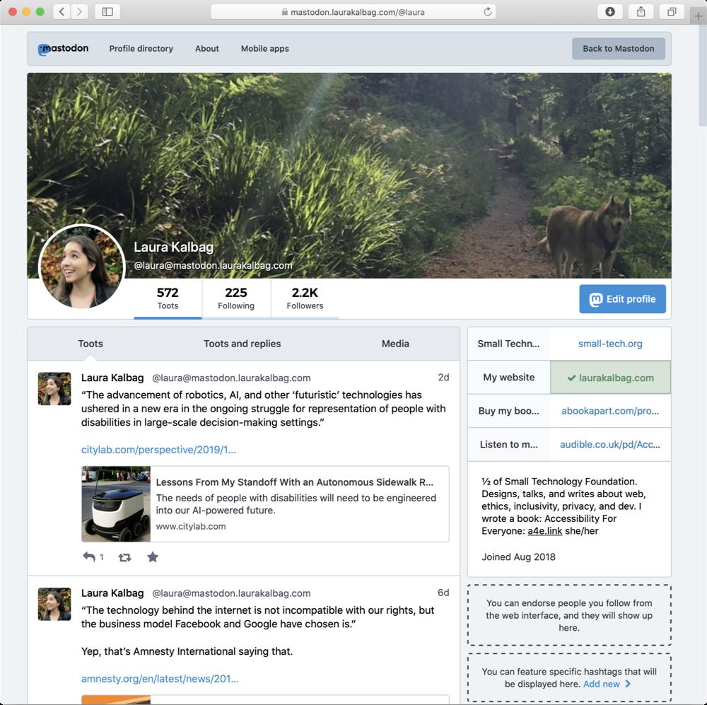 Screenshot of my Mastodon instance.
