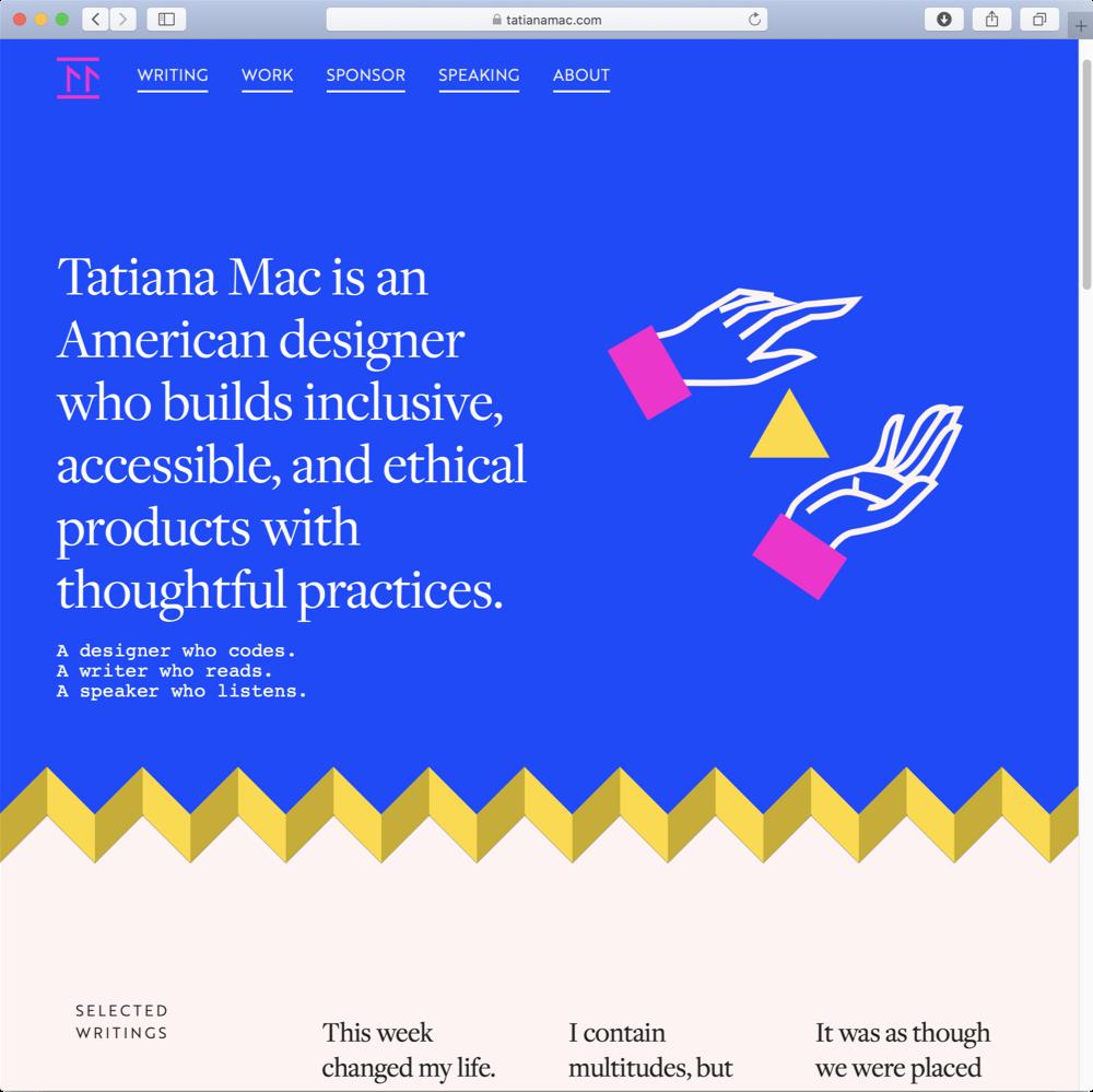 Screenshot of Tatiana Mac's homepage.
