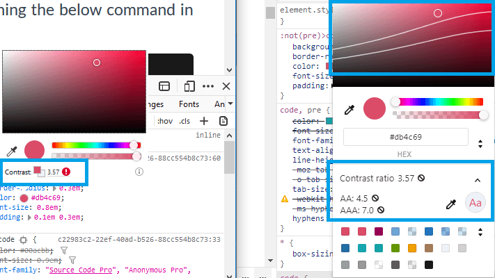 A screenshot of the output of browser dev tools, and how they show alerts about low contrast ratio.