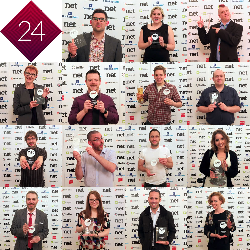 A montage of 24 ways authors posing with our Net Award trophy