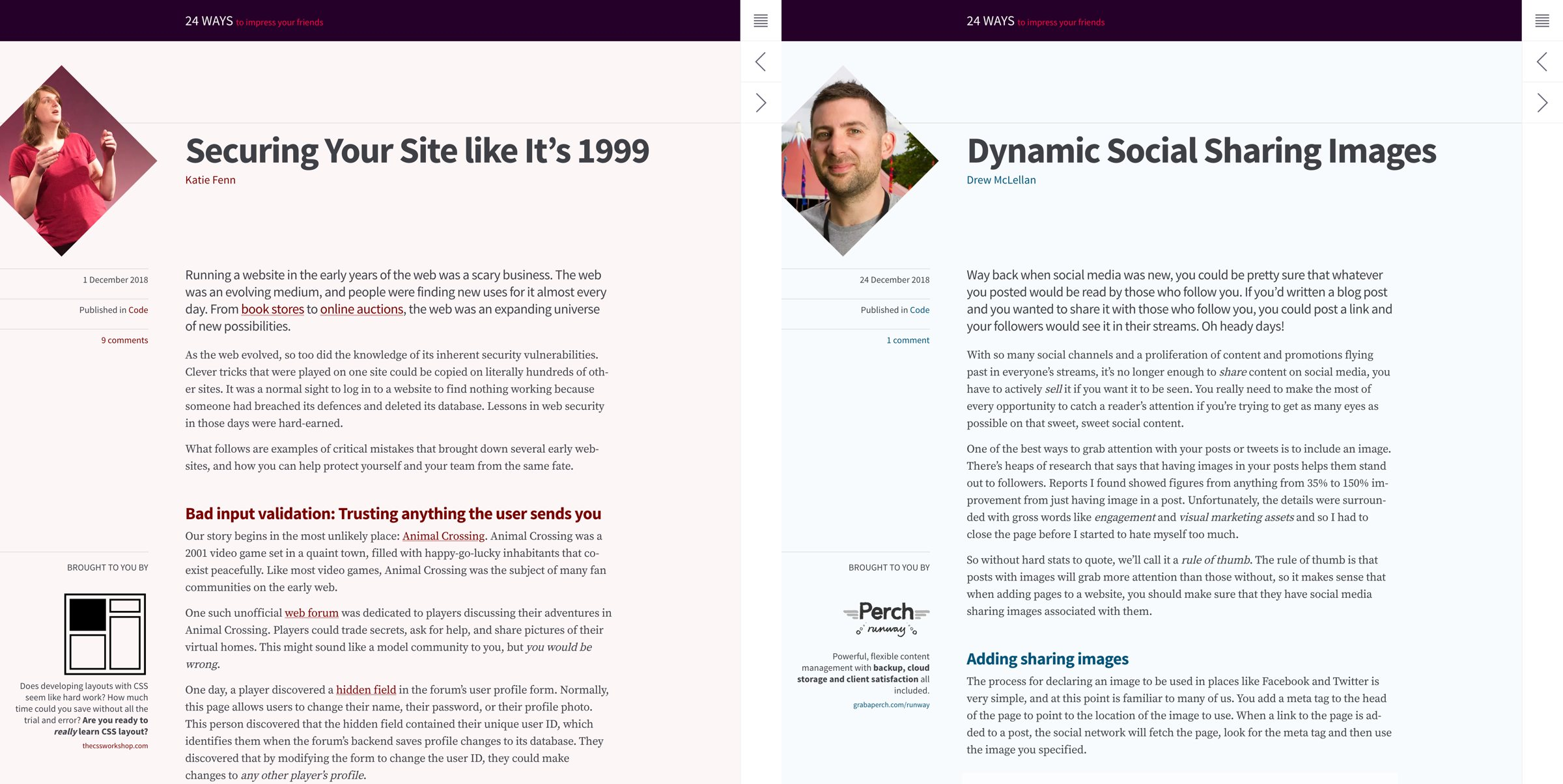 Screenshot showing the colour differences between a Day 1 article and a Day 24 article.