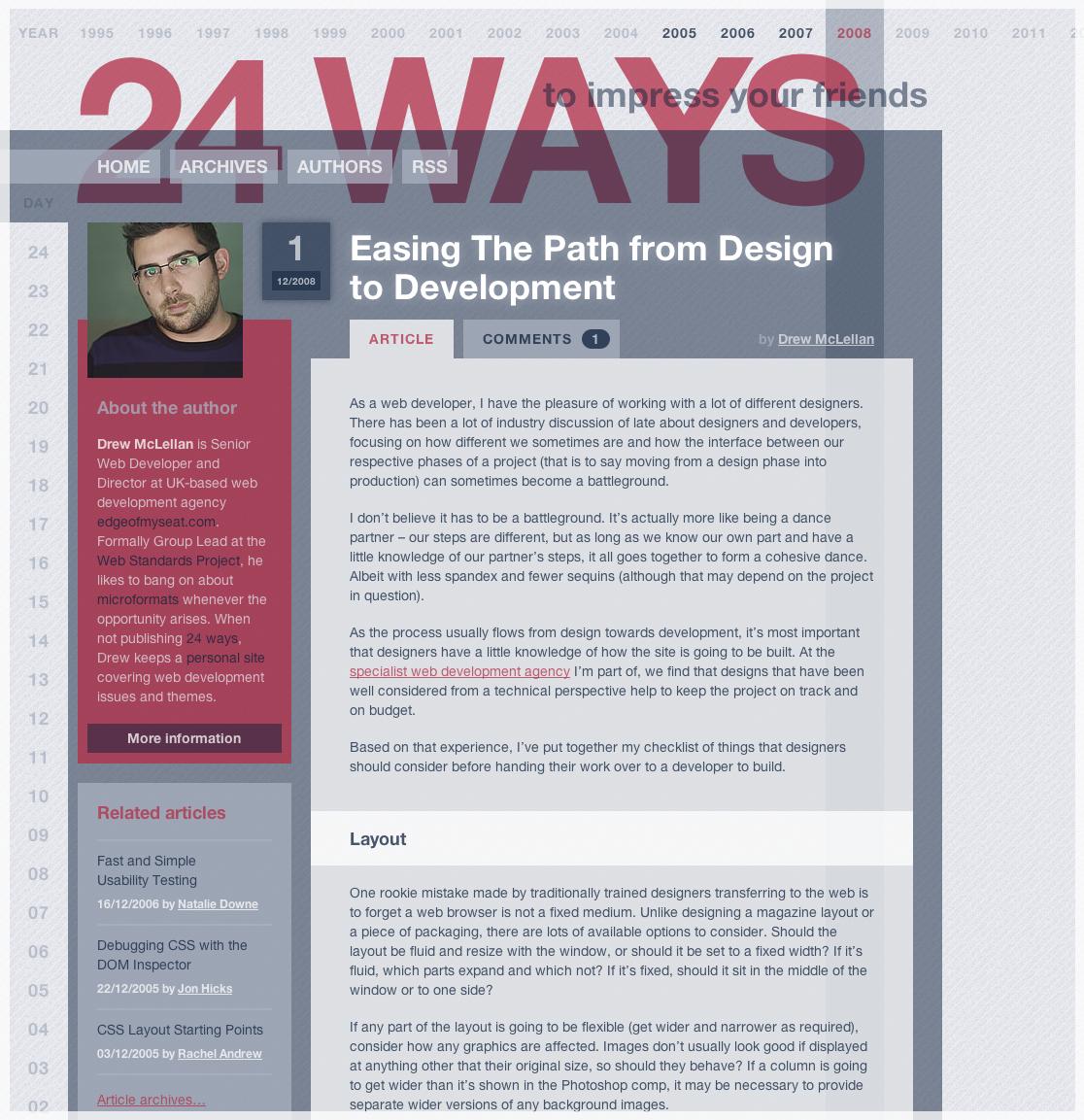 Screenshot of the 2008 24 ways site