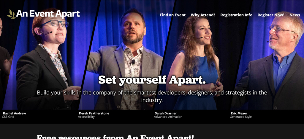 The header of the An Event Apart website with slanted images of speakers, and captions beneath.