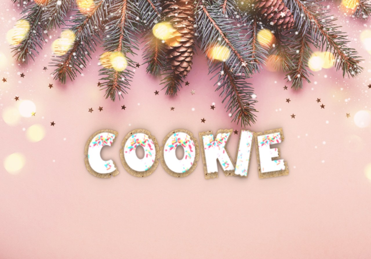 The word 'cookie' with the letters looking like cookies with icing and sprinkles.